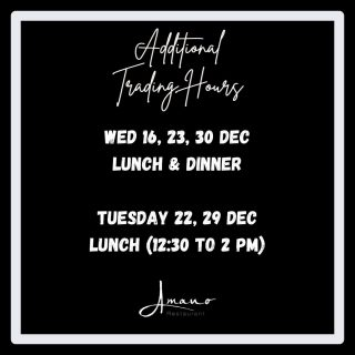 Wanting a Christmas moment near the waterfront? Book a spot for lunch or dinner at our restaurant this December. We have opened up our booking system for more dining experience at Amano.